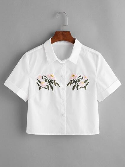 Flower Embroidered Roll Cuff Crop Blouse