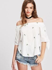 Tie Sleeve Daisy Embroidered Curved Bardot Top