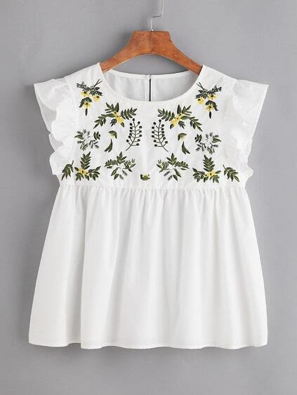 Flower Embroidered Buttoned Keyhole Ruffle Babydoll Top