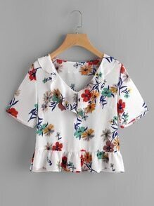 Flower Print Frill Collar And Hem Top