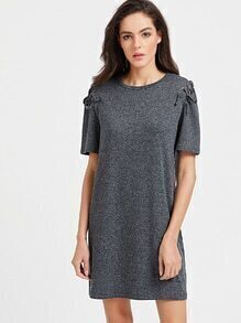 Marled Knit Lace Up Sleeve Tee Dress