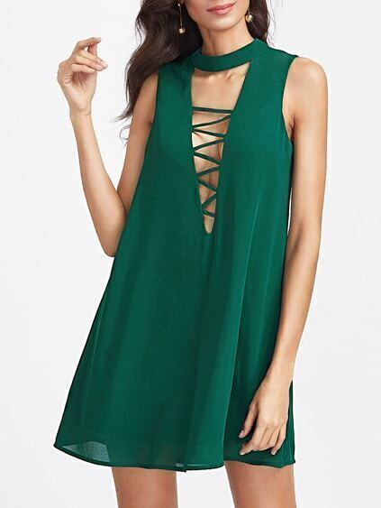 Strappy Plunge Neck Keyhole Back Swing Dress