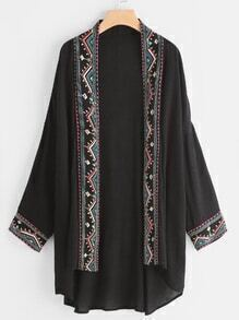 Embroidered Tape Trim High Low Kimono