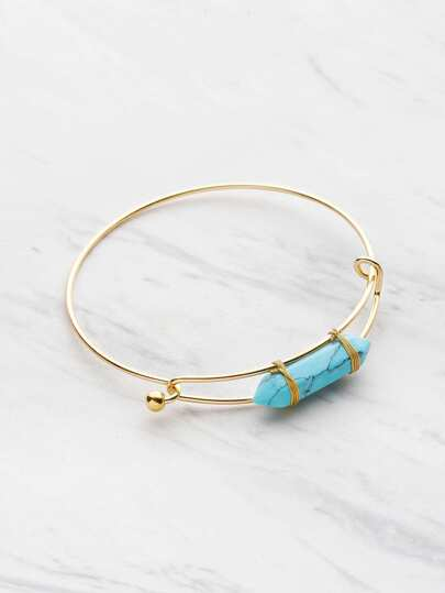 Random Stone Adjustable Bangle