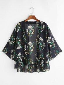 Botanical Print Ruffle Hem Kimono