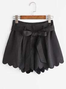 Scallop Edge Tie Waist Shorts