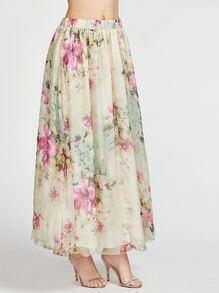 Jupe longue imprimé fleurs ceinture élastique - beige