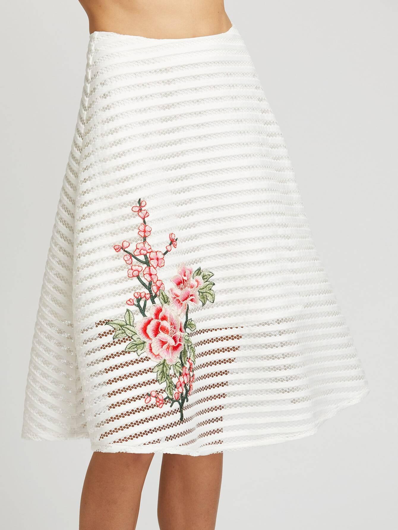 Flower Embroidered Striped Mesh Overlay Skirt