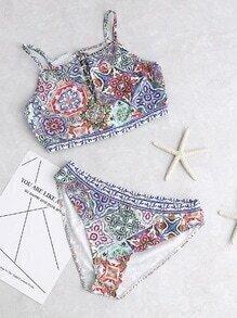 Bikini avec impression et V ouverture de dentelle - multicolore