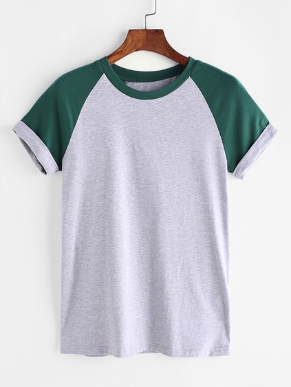 Contrast Cuffed Raglan Sleeve Heathered Tee