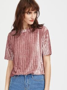 chemise rayée de Velours - Rose