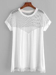 Shirt avec l'épaule de maille bordure frangée - blanc
