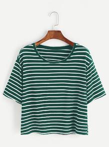 Camiseta corta de rayas - verde blanco
