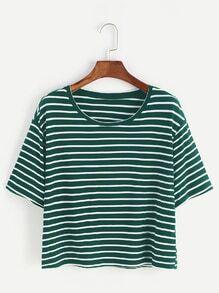 chemise à rayures - vert blanc