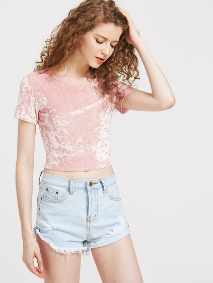 Slim Fit Crop Crushed Velvet Tee
