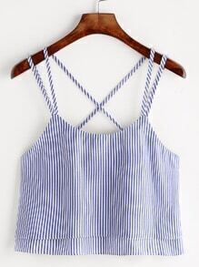 Striped Strappy Crisscross Layered Cami Top