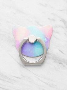 Soporte de etiqueta engomada del móvil con anillo en forma de gato