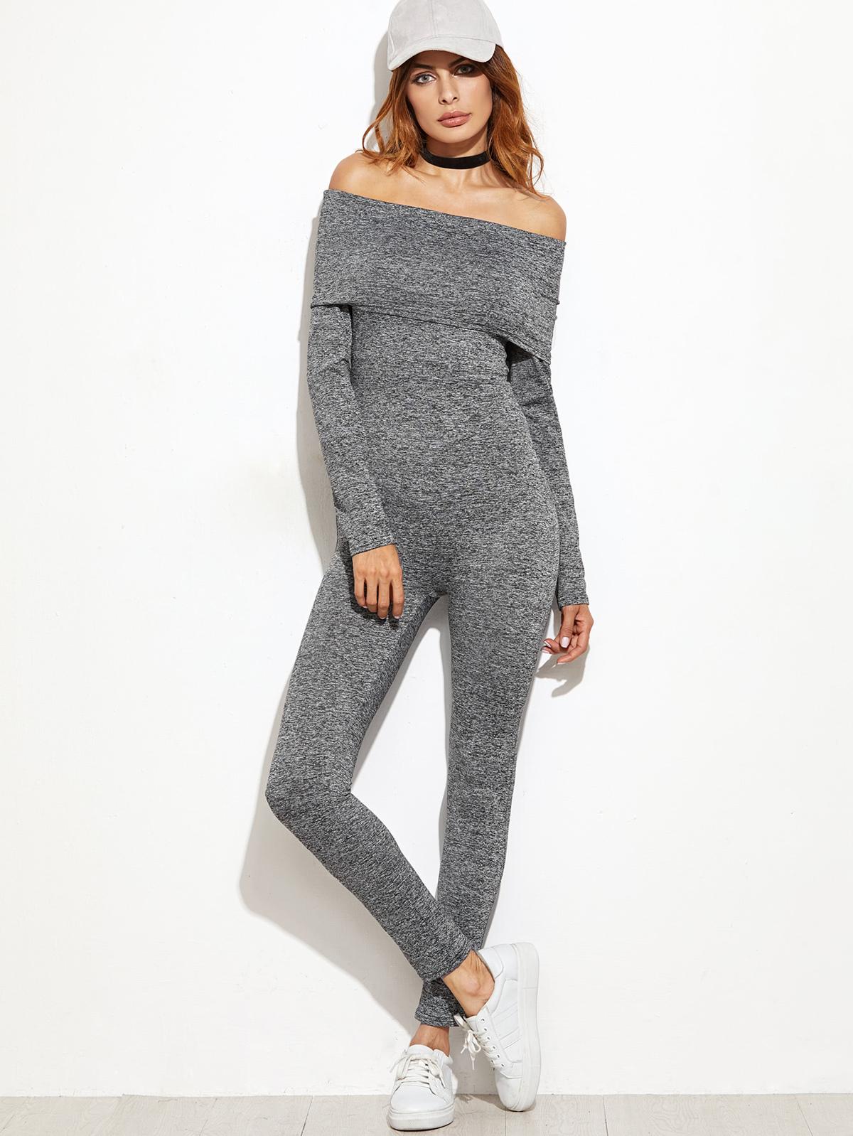 泥灰色 折疊 芭杜 苗條 連身服飾
