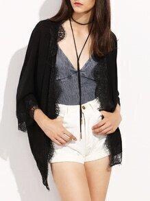 Kimono 3/4 Ärmel mit Spitzeneinsatz - schwarz