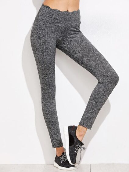 Grey Marled Knit Scallop Waistband Leggings