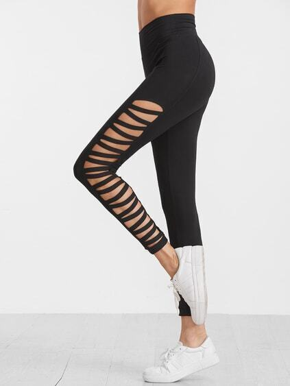 Black Ladder Cutout High Waist Leggings