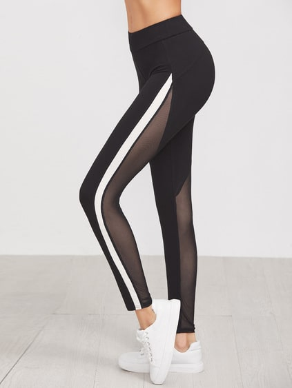 Black Contrast Panel Mesh Insert Leggings