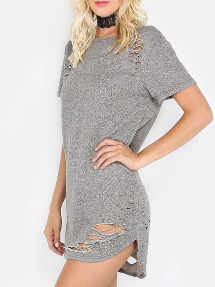 Grey Ripped Round Neck Short Sleeve Shift Dress
