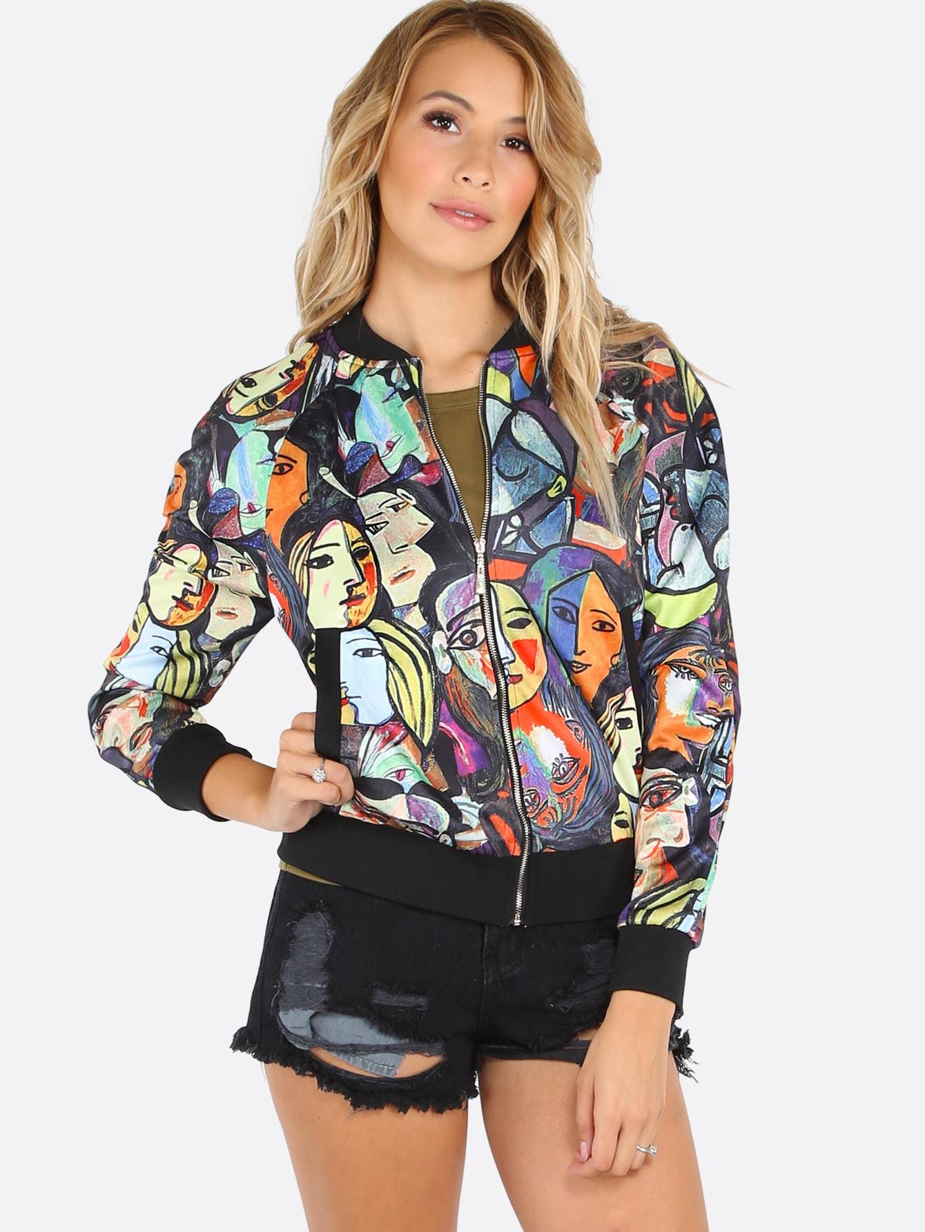 Multicolor Random Portrait Painting Print Bomber Jacket