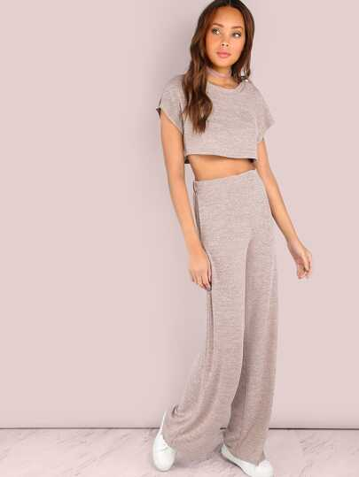Heathered Sportliche Ernte & Wide Leg Hosen Set