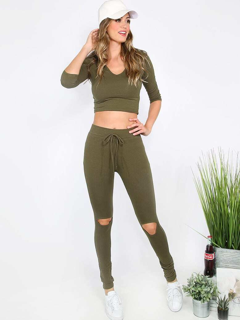 Army Green Long Sleeve Hooded T Shirt With Cutout Pants