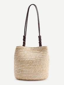 Buy Wood Beaded Detail Straw Shoulder Bag