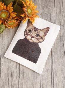Pochette canevas imprimé du chat