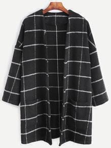 Mantel mit Taschen Kragenlos-schwarz