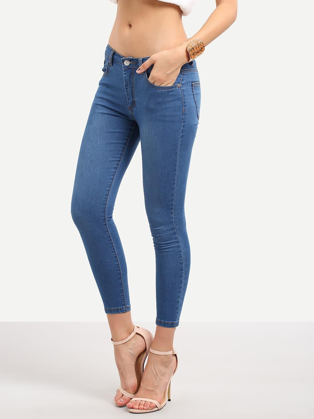 Blue Pocket Stretchy Skinny Jeans