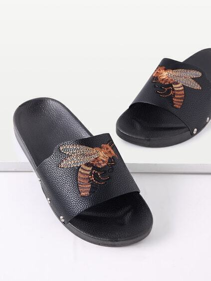 Bee Embroidery PU Flat Sandals