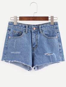 Denim Shorts mit zerrissenen Design - blau