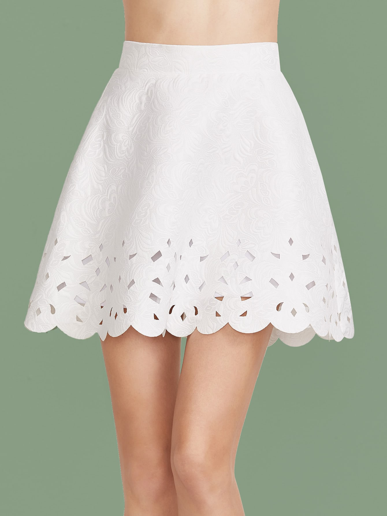 White Scallop Laser Cutout A Line Skirt