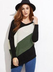 Asymmetrische Pullover Dolmanärmel-kontrastfarbe
