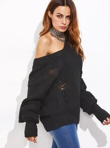 Pullover mit Zerrissen Design  added langarm -schwarz