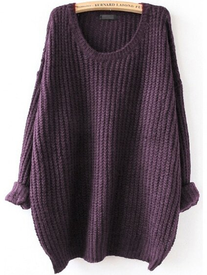 Purple Drop Shoulder Textured Sweater