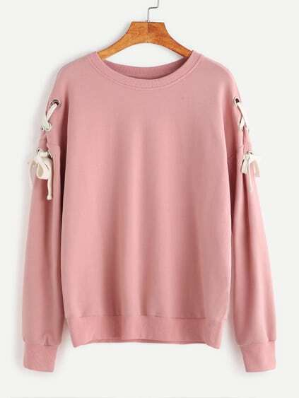 Pink Drop Shoulder Eyelet Lace Up Sweatshirt