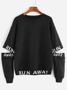 Sweatshirt Buchstaben Druck Cut-Outs Elbow-schwarz