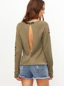 Sweatshirt mit Zerrissen Design Schnallen gespalten Hinten-oliv grün