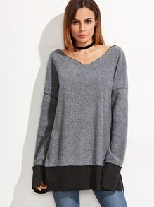 Sweatshirt V-Ausschnitt Kontrast Saum Schlitz-hell grau