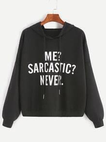 Sweatshirt mit Kapuzen Drop Schulter Slogan Druck-schwarz