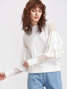 White Layered Ruffle Trim Mesh-Schutzhülle Sweatshirt