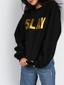 Sweatshirt Tropfen Schulter Buchstaben Druck - schwarz