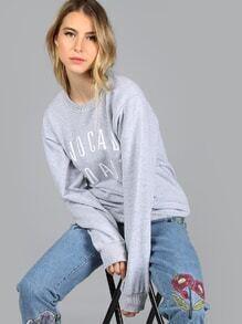 Sweatshirt Buchstaben Druck -dunkelgrau