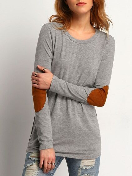 T-Shirt Langarm mit Patch - grau