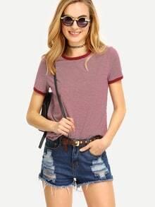 Rundhals T-Shirt kurzarm mit Kontrastsaum und Streifen